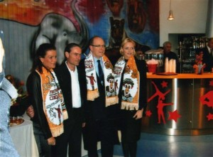 HSH Princesse Stephanie de Monaco, Artist Eric Brocchi, SAS Prince Albert II of Monaco, et HSH Princesse Charlene of Monaco